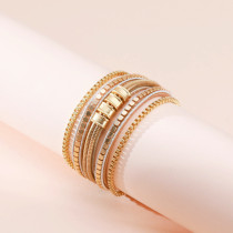 Multi-layer irregular leather strap retro all-match female bracelet