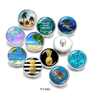 20MM sea turtle  pineapple  Print   glass  snaps buttons