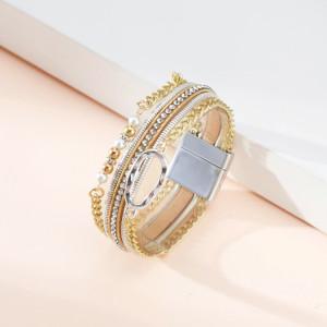 Lederarmband Retro geometrisches ethnisches Armband mit Diamanten und leichten Luxusperlen