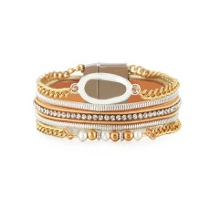 Leather bracelet retro geometric ethnic style bracelet with diamonds and light luxury pearls