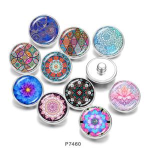 20MM  mandala  pattern  Print   glass  snaps buttons