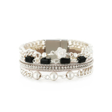 Simple and fresh summer casual style multi-layer bracelet ladies leather buckle bracelet