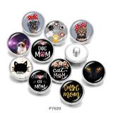 Стеклянные кнопки с принтом Cat MOM 20 мм