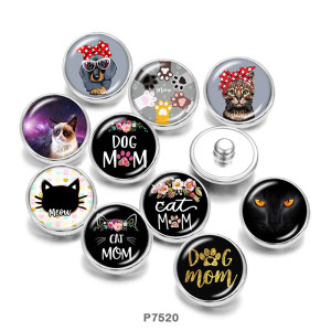 20MM  Cat  MOM  Print   glass  snaps buttons