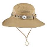 Chapeau de soleil chapeau de soleil pour hommes, protection UV extérieure respirante, chapeau de soleil de pêche d'alpinisme fit 18mm bouton-pression beige