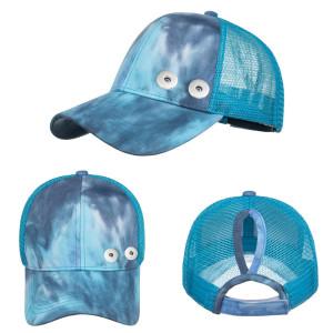 Casquette de baseball tie-dye queue de cheval casquette de baseball pour hommes et femmes couples fit 18mm bouton pression beige
