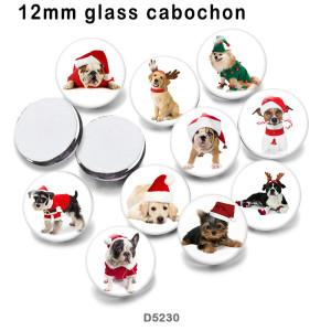 さまざまなサイズの10個/ロットの猫犬ガラス画像印刷製品冷蔵庫用マグネットカボション