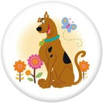 20MM Cartoon Dog BUS Print Glasdruckknöpfe