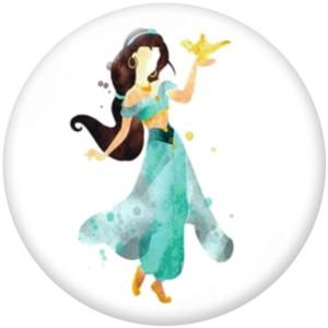 20MM Cartoon  princess  Print  glass  snaps buttons