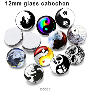 10pcs/lot   yin and yang  glass picture printing products of various sizes  Fridge magnet cabochon