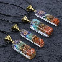 Collier orgonite chakela, gravier de pierre semi-précieuse en cristal, pendentif méditation sept chakras