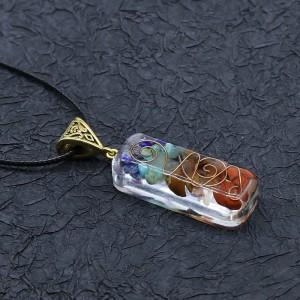 Orgonite chakela necklace, crystal semi-precious stone gravel, meditation seven chakra pendant