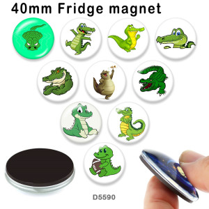10pcs/lot  Cartoon  crocodile  glass picture printing products of various sizes  Fridge magnet cabochon