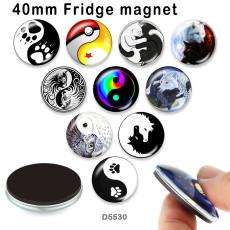 さまざまなサイズの10個/ロットの陰陽ガラス画像印刷製品冷蔵庫用マグネットカボション