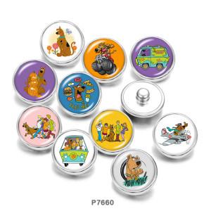 20MM  Cartoon  Dog  BUS  Print  glass  snaps buttons