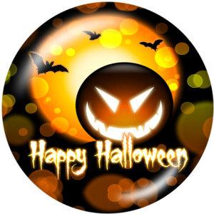 Boutons pressions en verre imprimé crâne d'Halloween 20MM
