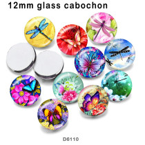 10 pcs/lot papillon libellule verre produits d'impression d'image de différentes tailles aimant de réfrigérateur cabochon