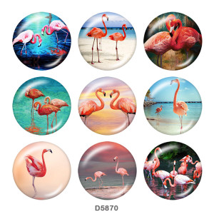 20MM Flamingo LOVE Print Glasdruckknöpfe Strand