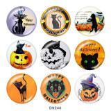 Boutons pressions en verre à imprimé chat Halloween 20MM