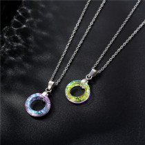 Ring Crystal Pendant Stainless Steel Short Necklace Stainless Steel  50CM Chain