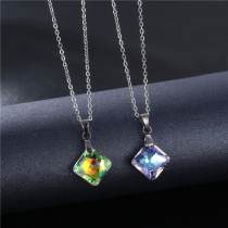 Square Crystal Pendant Stainless Steel Geometric Short Necklace Stainless Steel  50CM Chain