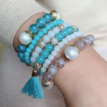 Elastisches Seil Böhmisches Armband Farbe mehrschichtiges Perlenarmband