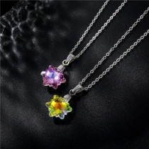 Stainless steel simple snowflake crystal pendant necklace Stainless Steel  50CM Chain