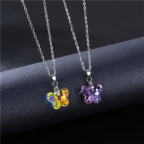 Stainless Steel Necklace Butterfly Crystal Necklace Stainless Steel  50CM Chain