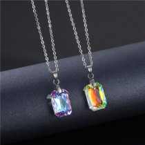 Crystal rectangular necklace Stainless Steel  50CM Chain