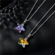 Stainless steel starfish necklace five-pointed star crystal pendant Stainless Steel  50CM Chain  necklace for women
