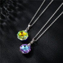 Crystal clavicle necklace women's geometric octagon Stainless Steel  50CM Chain