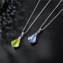 Maple Leaf Clavicle Crystal Pendant Necklace Stainless Steel  50CM Chain