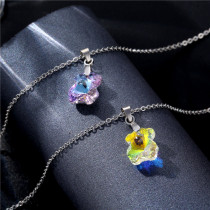 Bear Necklace Female Stainless Steel Crystal Clavicle Necklace Stainless Steel  50CM Chain  necklace for women