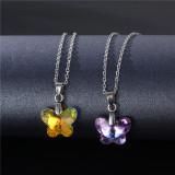 Edelstahl Halskette Schmetterling Kristall Halskette Edelstahl 50CM Kette