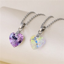 Ocean Heart Necklace Female Heart Shaped Crystal Clavicle Chain Stainless Steel  50CM Chain