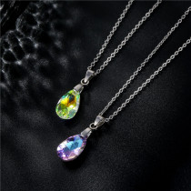 Water Drop Necklace Stainless Steel Clavicle Chain Crystal Pendant Stainless Steel  50CM Chain  necklace for women