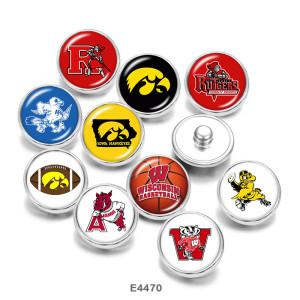 Botones a presión de vidrio con estampado del equipo escolar de la NCAA de 20 mm