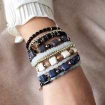 Kombination mehrschichtiges Armband Kristall elastisches Seil Quadrat Türkis Perlen Schmuck