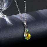 Wassertropfen Halskette Edelstahl Schlüsselbein Kette Kristall Anhänger Edelstahl 50CM Kettenhalskette für Frauen