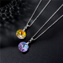 Simple fashion crystal round necklace Stainless Steel  50CM Chain
