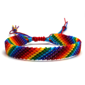 LGBT hilo de punto de cruz bohemio color arcoíris pulsera de la amistad trenzada estilo étnico pulsera trenzada de cuerda de mano duradera