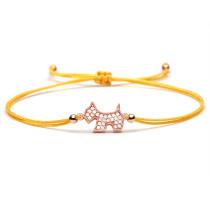 Kupfer Zirkon Galvanik Echtgold eingelegter Zirkon Silber Tier Wachs Seil Tier verstellbares geflochtenes Armband