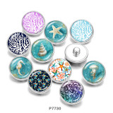 Boutons pressions en verre Beach Shell Print 20MM