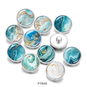 20MM Strandmuster Druckknöpfe aus Glas mit Druckknöpfen