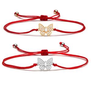 mikroeingelegtes zirkonisches Schmetterlingsarmband mit roter Schnur zum Ausziehen mit farberhaltenden Kupfer-Accessoires