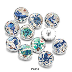 20MM  Beach Ocean  sea turtle   Print   glass  snaps buttons