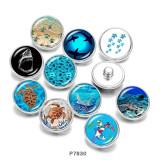 20MM Beach tortue de mer Ocean Print boutons pressions en verre