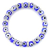 Evil Eye Perlenarmband 6mm Kristallglas DIY Perlenarmband Legierung Strass Armband