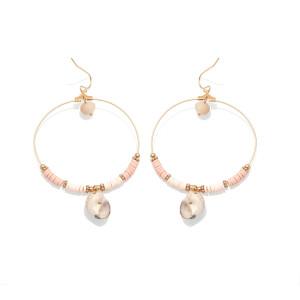 Boucles d'oreilles à crochet en perles de cristal de poterie douce écologique Conch