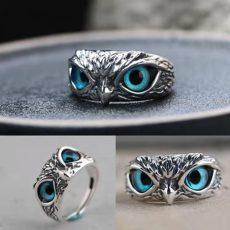 Schlichter Silberring mit blauem Auge und Eule mit Dämonenauge